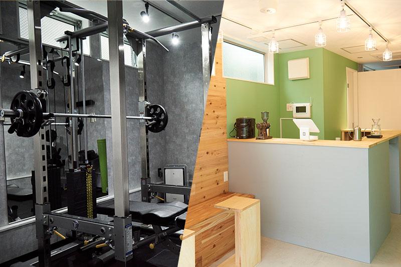 オシャレなジムカフェ併設と高品質マシン完備
